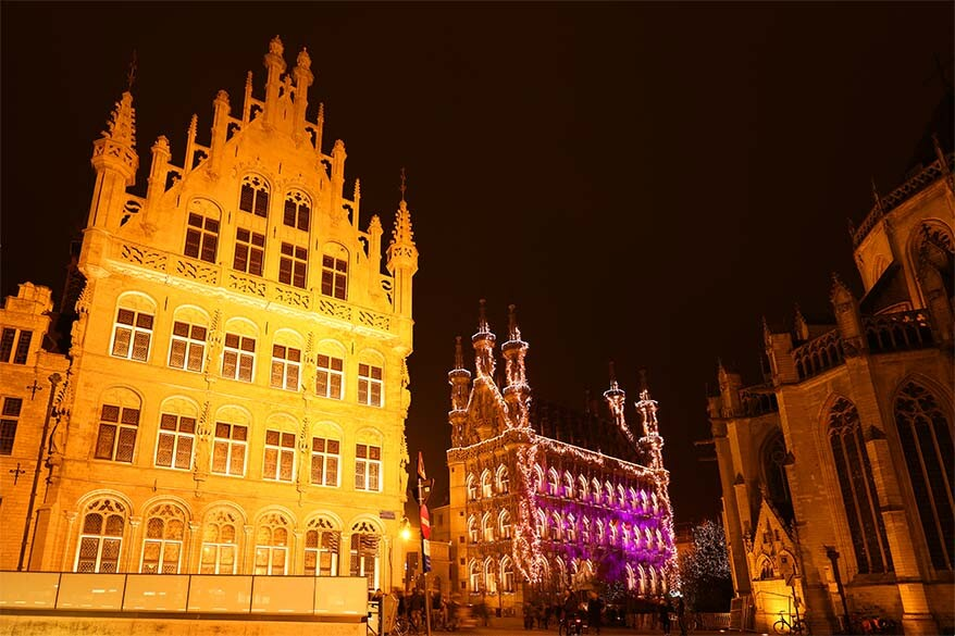 Old Town of Leuven, Belgium at night