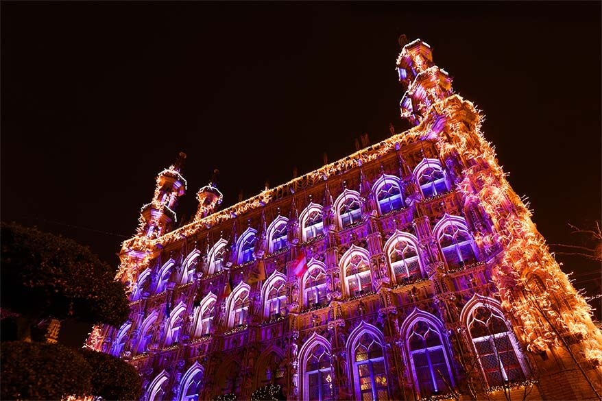 Leuven city hall decorated for the 2016 Christmas season