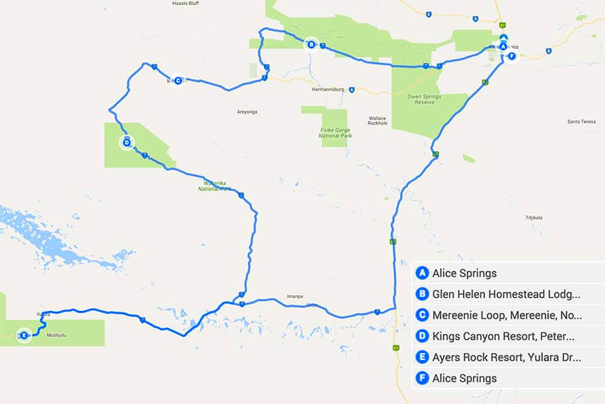 Australia Red Centre Road Trip Itinerary Map