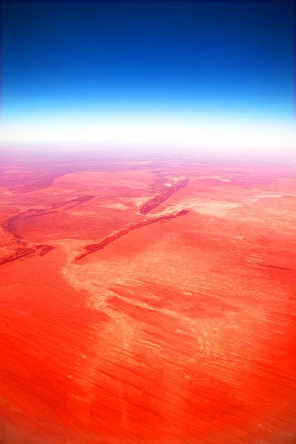 Australian Outback aerial view from the plane