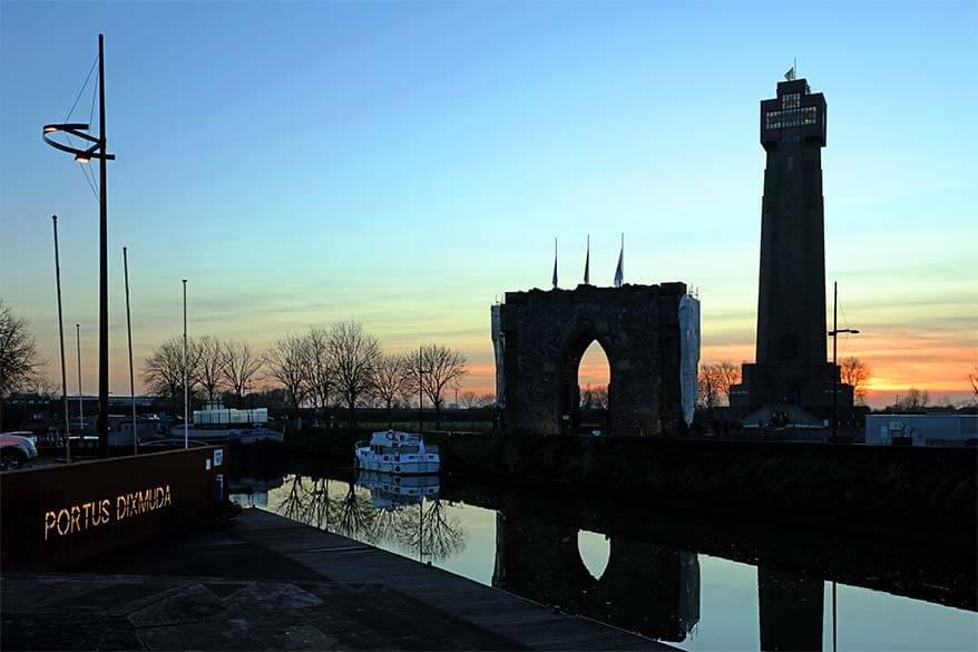 Yser Tower and the Gate of Peace in Diksmuide Belgium
