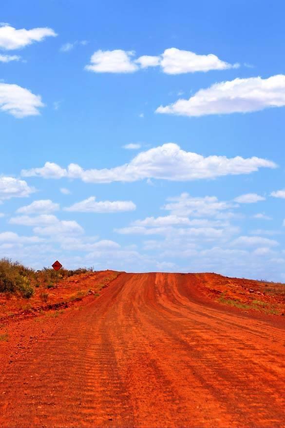 Driving Mereenie Loop Road Outback Australia