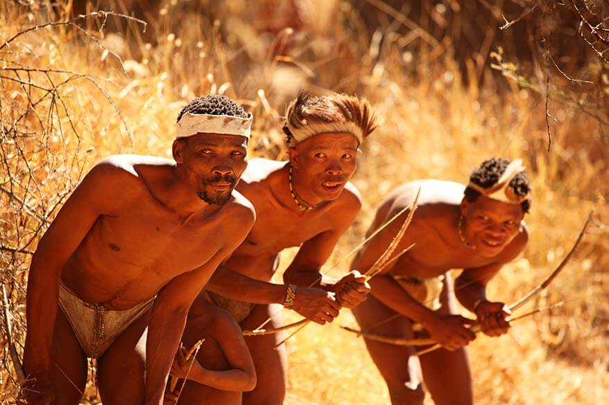 Bushmen San tribe male hunters in Namibia