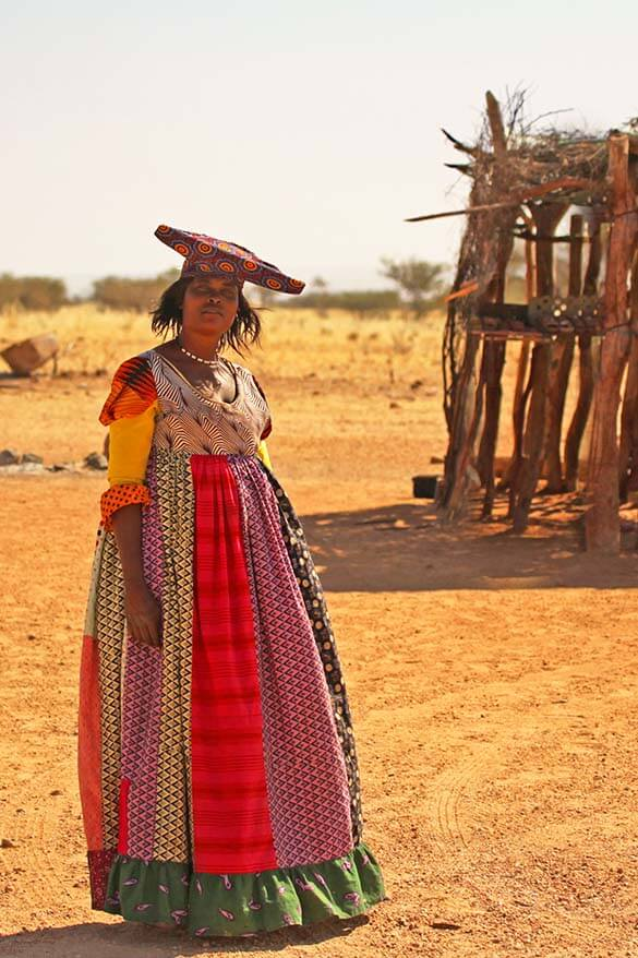 Herero woman wearing a traditional colonial costume in Namibia