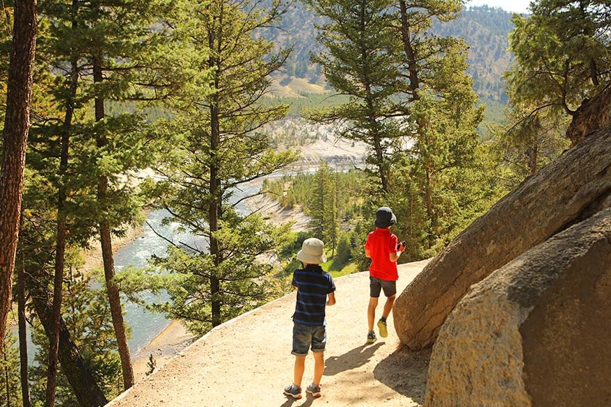 Hiking the Tower Fall trail in Yellowstone with kids