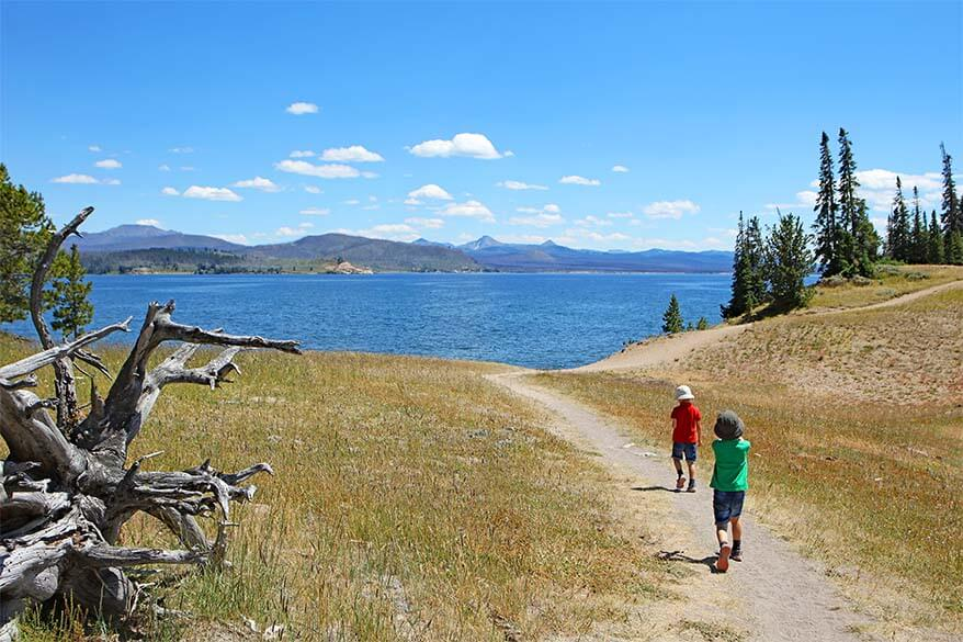 Kids Hiking the Storm Point Trail, Yellowstone National Park