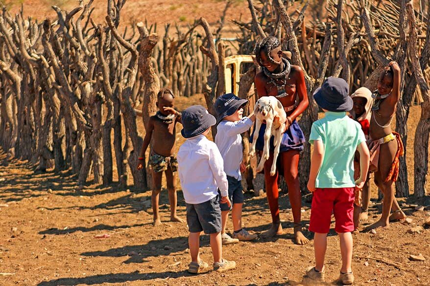 Our kids playing with the Himba children in Namibia