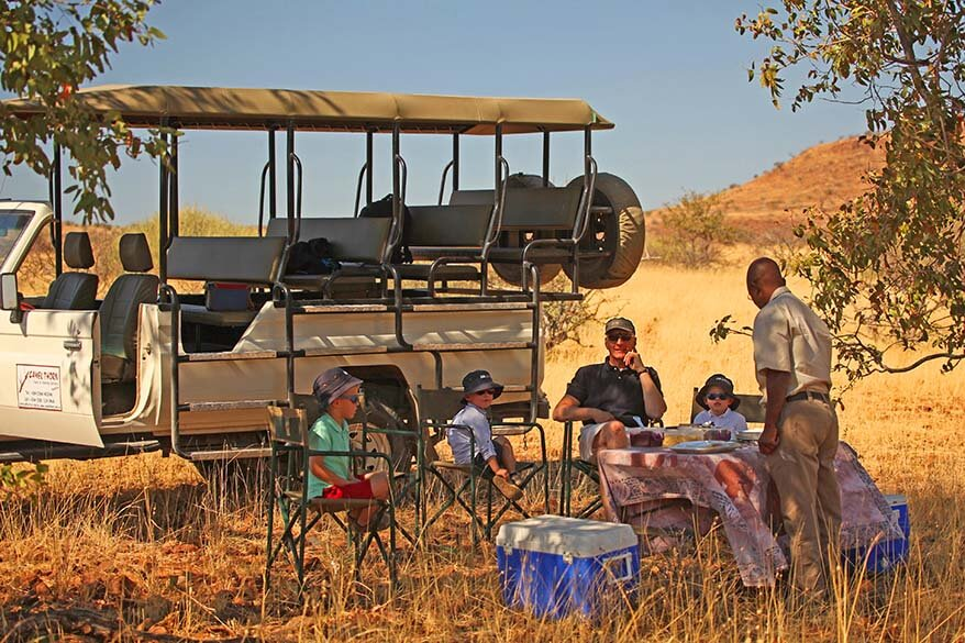 Our picnic lunch in an African savannah on a Himba tour in Northern Namibia