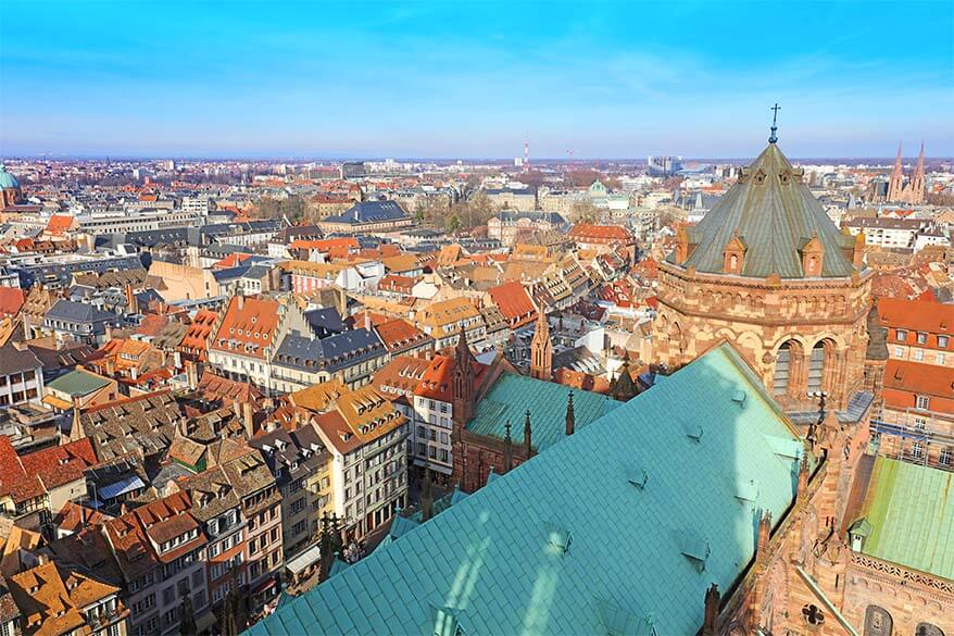 Aerial view over Strasbourg from the Cathedral tower