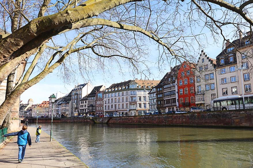 Walking along the Canal des Faux Remparts in Strasbourg with kids