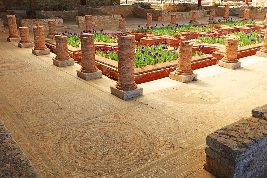 Floor mosaic at Conimbriga Ancient Roman Site in Central Portugal