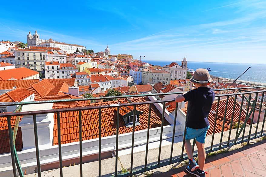 Largo das Portas do Sol viewpoint in Alfama Lisbon