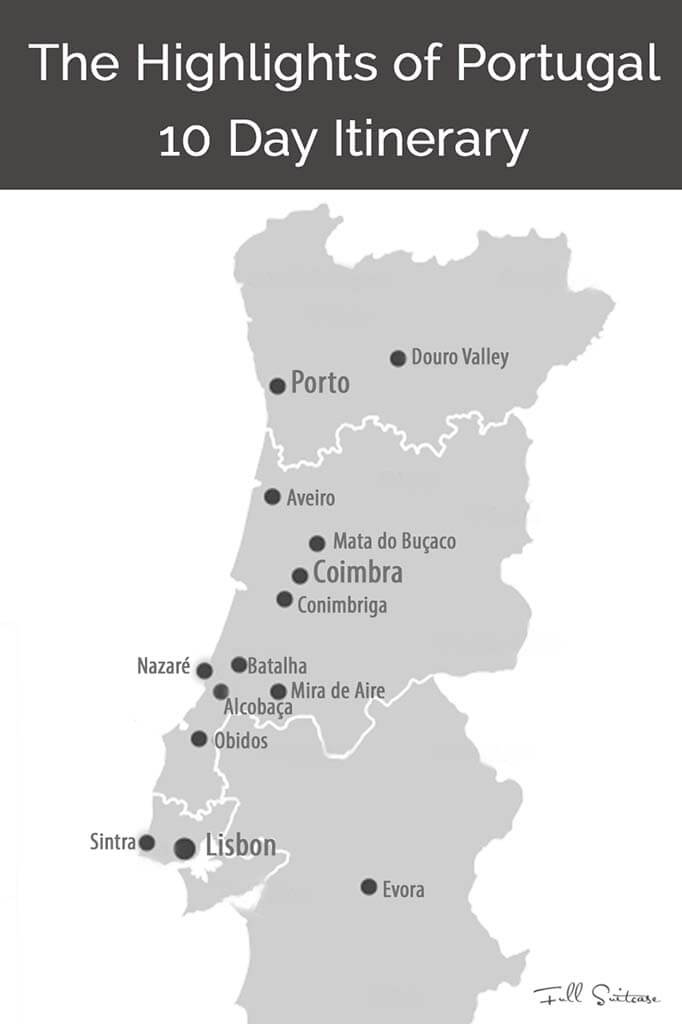 Portugal 10 day itinerary map