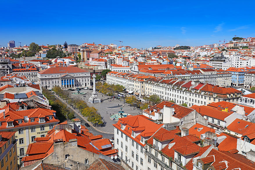 Rossio square as seen from Santa Justa Lift viewing platform