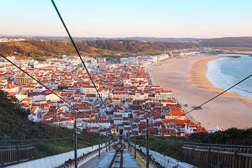 View over Nazare in Central Portugal from funicular