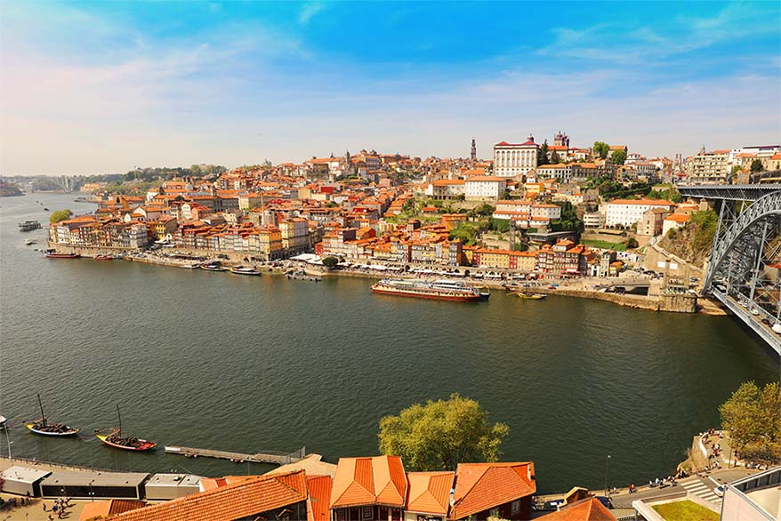 View over Porto old town centre