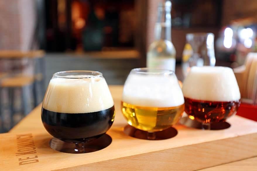 Beer tasting at De Koninck City Brewery in Antwerp