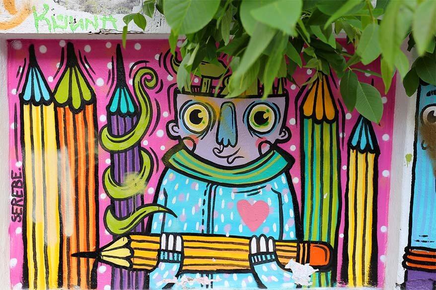 Colorful street art in Bucharest Romania