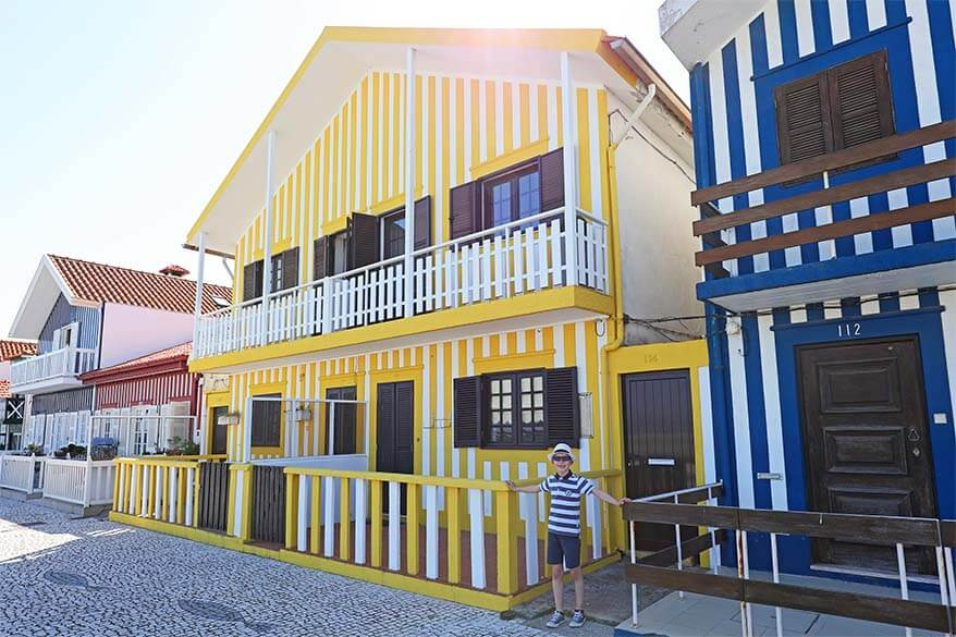 Colorful striped houses of Costa Nova near Aveiro in Central Portugal