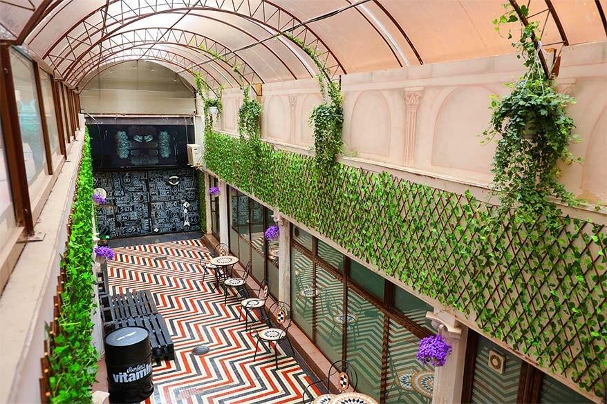 Hidden underground cafe on Pasajul Victoria in Bucharest