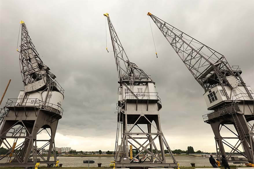 Old container cranes at the port of Antwerp in Belgium