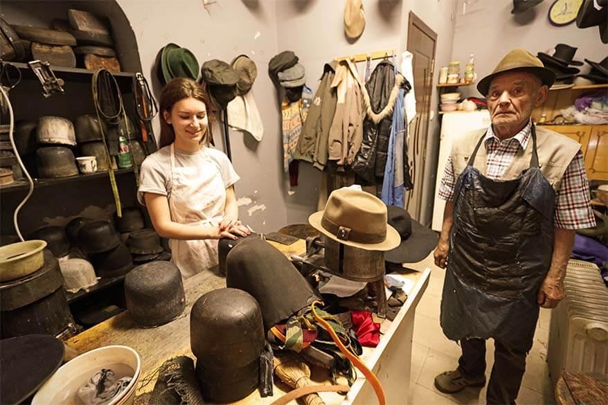 Palaraii la mesterul Nicu - an old hat maker in Bucharest Romania