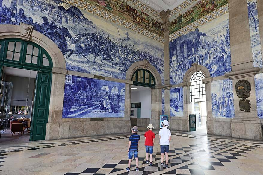 Portuguese azulejos at Sao Bento railway station in Porto Portugal