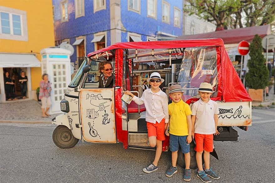 Riding a tuk-tuk was one of the highlights of our vacation in Portugal for kids