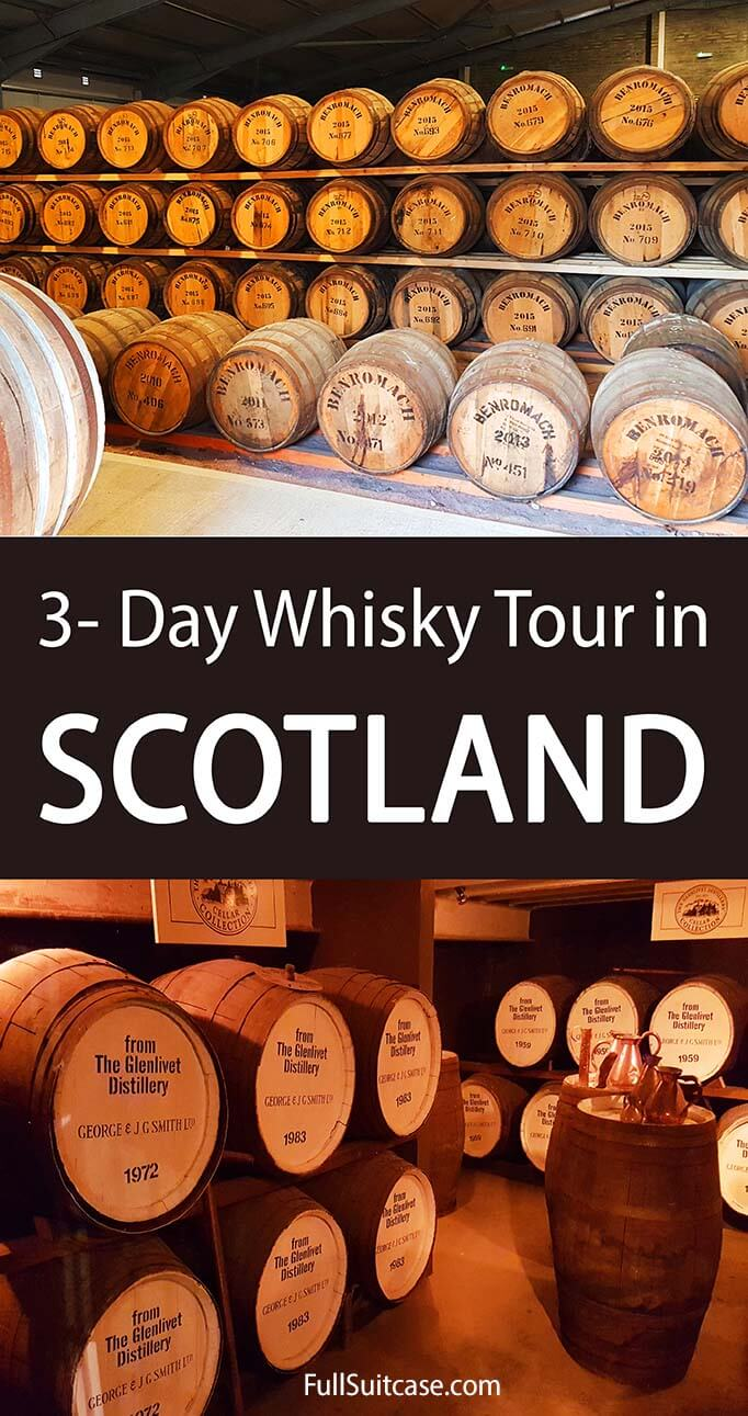 3- day whisky tour itinerary for Speyside region in Scotland. Visit Glenfiddich, the Glenlivet, and many other whisky distilleries. Discover the most famous landmarks and stunning landscapes of Scotland!