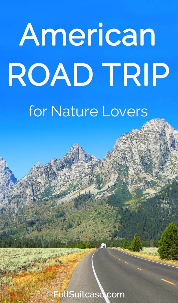American road trip itinerary for nature lovers. Featuring Yellowstone, Arches, Rocky Mountain National Parks, and more... Get inspired!