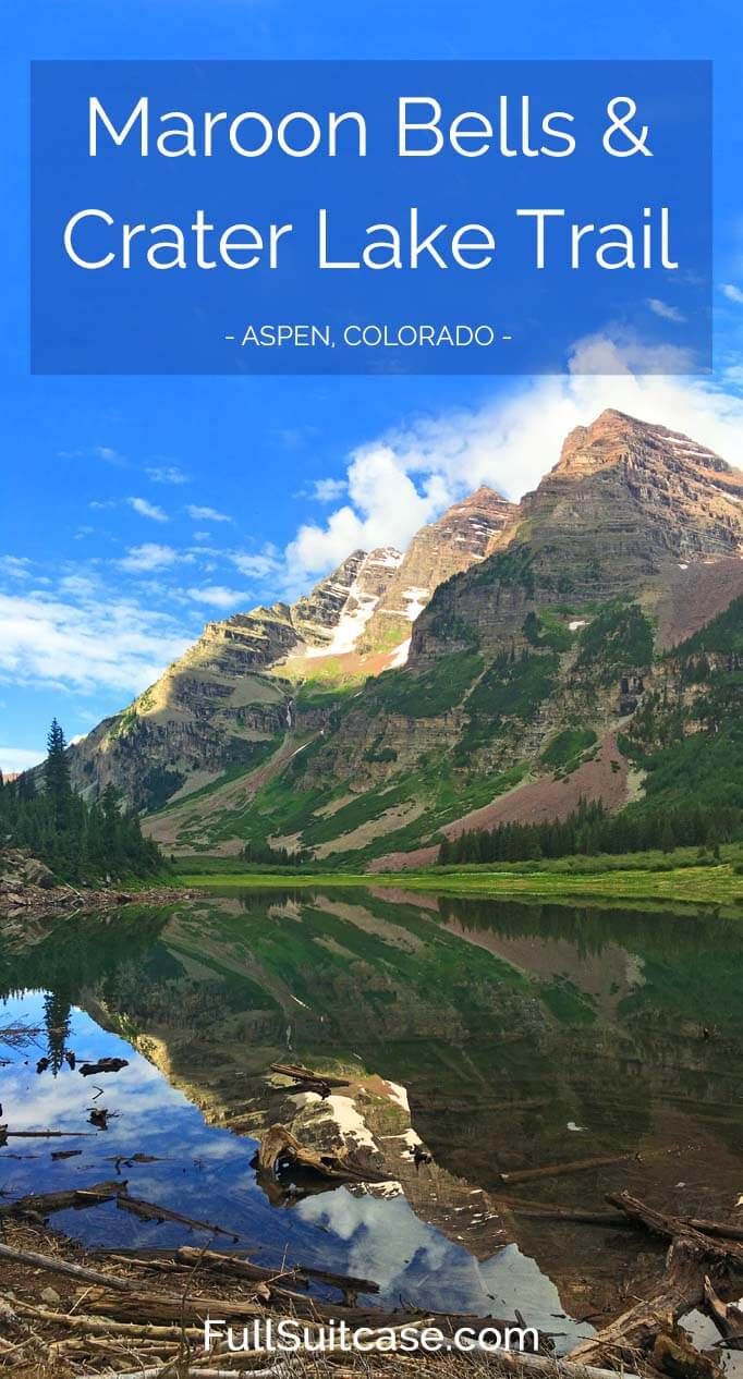 Discover the most photographed mountains in North America - Maroon Bells and Crater Lake Trail near Aspen Colorado in the United States