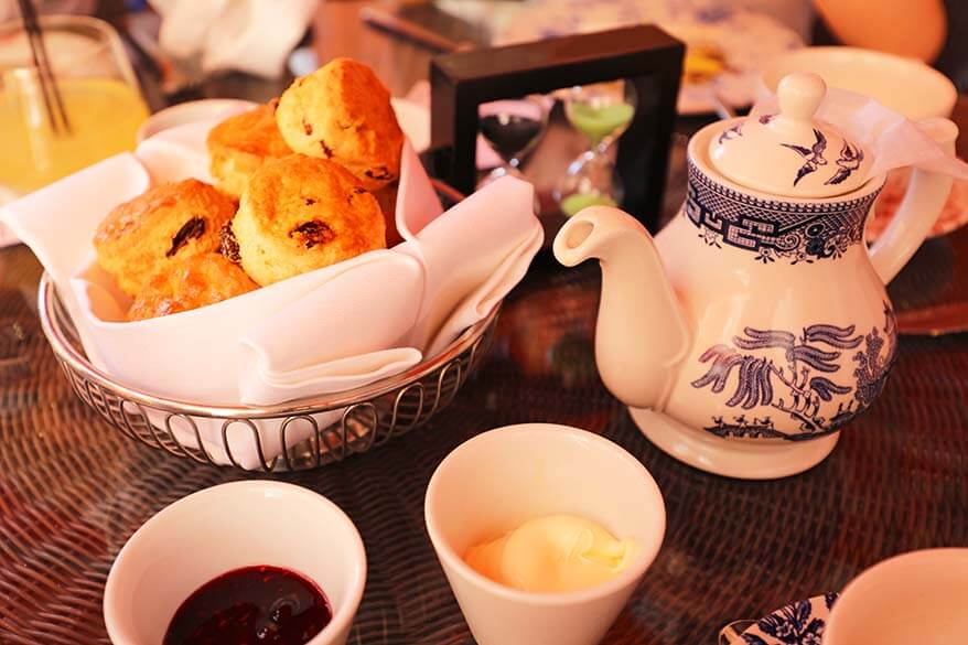 English afternoon tea at a luxury hotel in London