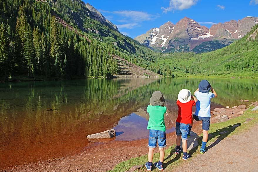 Visiting Maroon Bells and hiking Crater Lake Trail with kids