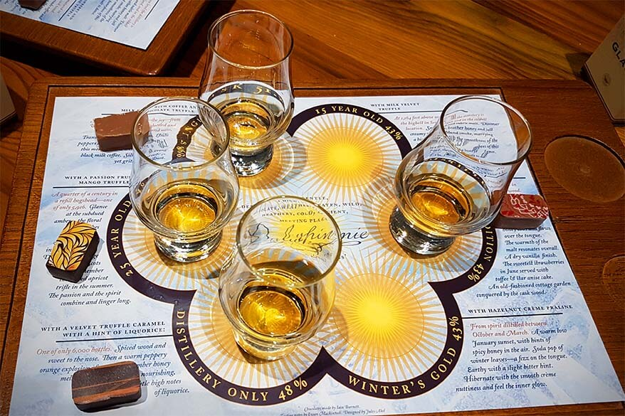 Whisky tasting on Dalwhinnie distillery tour in Scotland