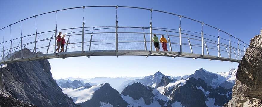 Cliff Walk on Europe's highest suspension bridge at Mount Titlis in Summer