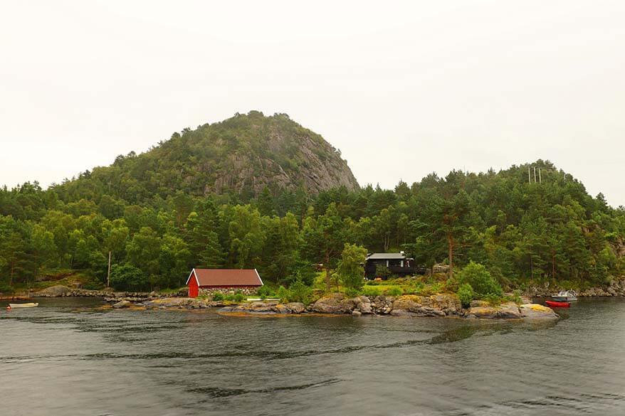 Beautiful coastline scenery of Lysefjord near Stavanger in Norway