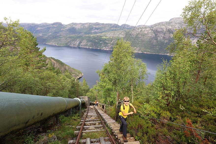 Florli 4444 staircase with kids - Stavanger Norway