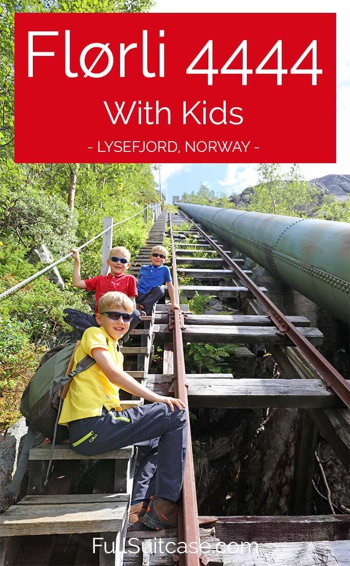 Florli 4444 with kids - an epic hike in Stavanger region at Lyefjord in Norway. #Hiking #Norway