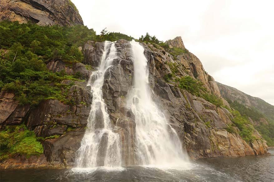 Hengjanefossen waterfall as seen from Lysefjord cruise in Norway