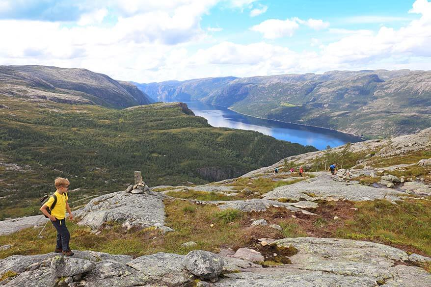 Hiking down to Florli with Lysefjord in the background - Florli 4444 epic hike in Norway