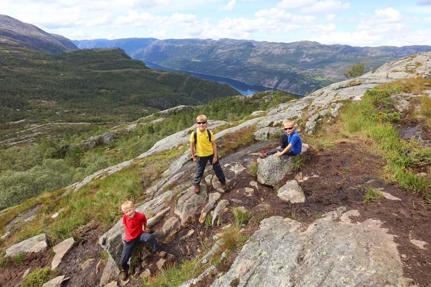 Hiking with kids in Florli by Lysefjord in Norway