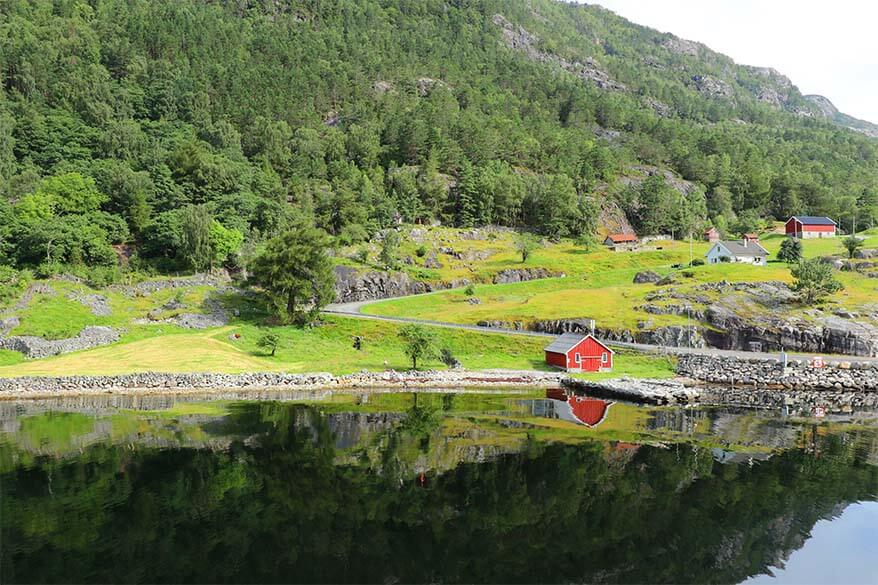 Little Sognesand village along the Lysefjord in Norway