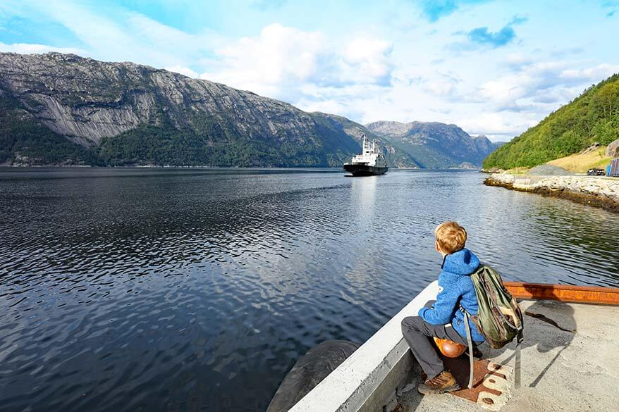 Waiting for a ferry at Florli in Lysefjord Norway