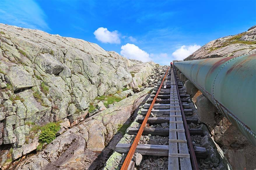 climbing the 4444 stairs on the world's longest wooden staircase in Florli Norway