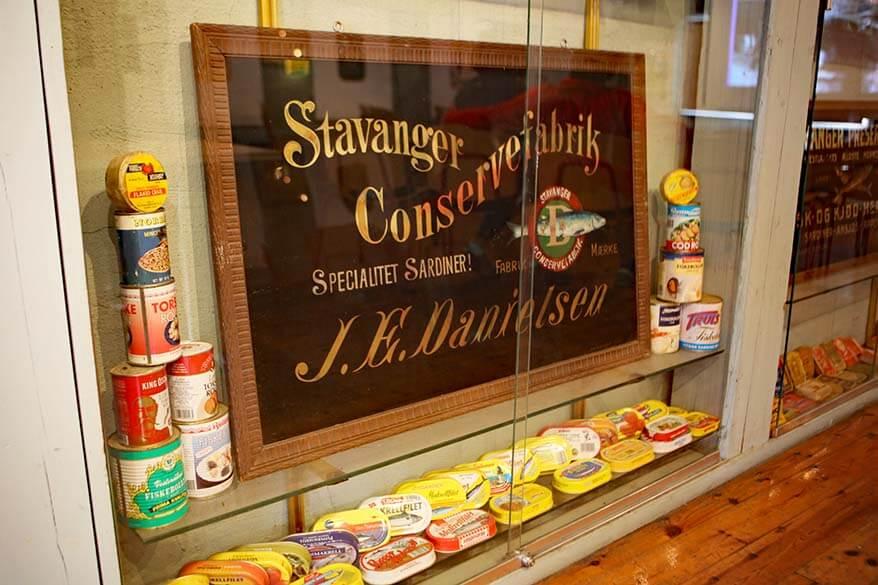 Big variety of fish cans at Norsk Hermetikkmuseum in Stavanger Norway