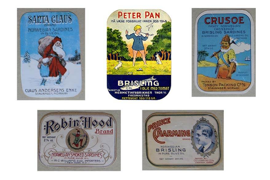 Canned fish retro labels with the fairy tale heroes - The Norwegian Canning Museum Stavanger
