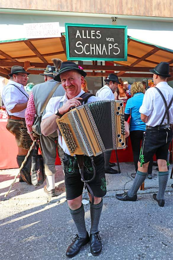 Local musicians at the traditional Austrian farmers market and Almabtrieb celebration in Tirol