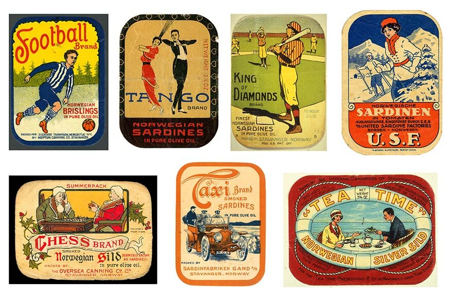 Norwegian canned fish retro labels