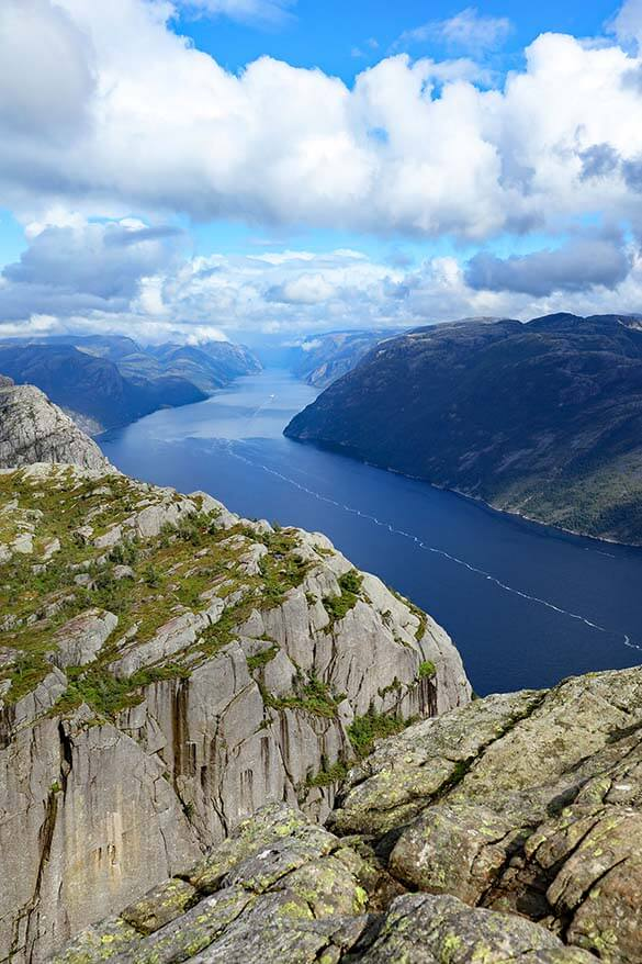 Lysefjord as seen from the Preikestolen - Pulpit Rock hike in Norway