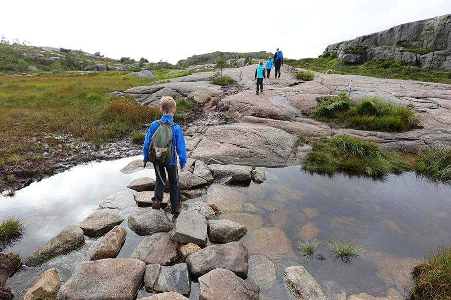 Preikestolen hike can be wet and requires good hiking shoes